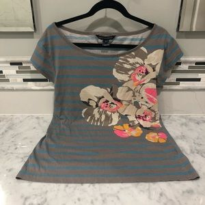 french connection gray blue striped floral tee